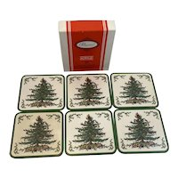 Pimpernel Spode Christmas Tree Coaster Set in Box 6