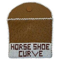 Horseshoe Curve Pennsylvania Railroad Souvenir Leather Beaded Coin Purse Horse Shoe Beads