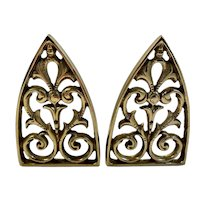 Cathedral Arch Shaped Brass Bookends Book Ends Solid Vintage Filigree Design