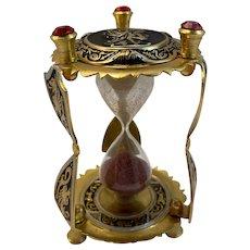 Damascene Brass Hourglass Nautical Ship Galleon Spanish Style