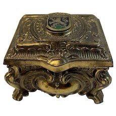 Casket Shaped Jewelry Box with Red Lining Ornate Gold Colored Metal Heidelberg Germany
