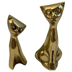Pair of Vintage Solid Brass Kitty Cat Paperweights Figurines MCM  Mid Century Modern