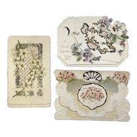 Victorian Die Cut Easter Cards Cecelia Havergal Poems Pansies Forget Me Nots Embossed