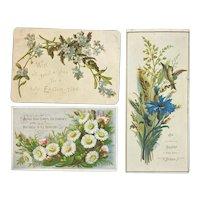 Victorian Die Cut Easter Cards Birds Flowers Forget Me Nots Embossed