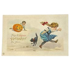 Unused Stecher Litho Co Halloween Postcard 339 D Girl and Boy Black Cat JOL Jack O Lantern Kitty's Hair Standing on End Embossed