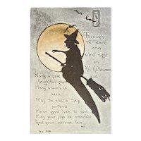 F.A. Owen Witch Silhouette Halloween Postcard Orange Moon Bats Moonlight Flying Broom 866 Artist Signed MHS Unused