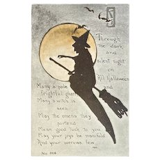 F.A. Owen Witch Silhouette Halloween Postcard Orange Moon Bats Moonlight Flying Broom 866 Artist Signed MHS Unused