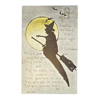 F.A. Owen Witch Silhouette Halloween Postcard Yellow Moon Bats Moonlight Flying Broom 866 Artist Signed MHS