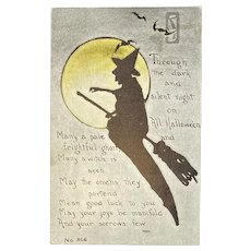 F.A. Owen Witch Silhouette Halloween Postcard Yellow Moon Bats Moonlight Flying Broom 866 Artist Signed MHS