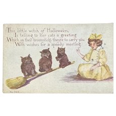 F.A. Owen Girl Black Cats on Broom Halloween Postcard 865