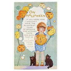 Whitney Made Halloween Postcard with Little Girl Black Cats JOL Jack O Lantern Embossed