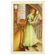 Whitney Made Halloween Postcard with Girl with Candle and Mirror on Stairs Jack O Lantern JOL