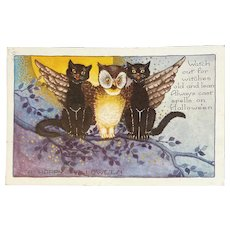 Whitney Made Halloween Postcard with Black Cats and Owl on Tree Branch Embossed Moon