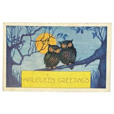 Whitney Made Halloween Postcard with 2 Owls on Tree Branch Embossed Moon