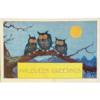 Whitney Made Halloween Postcard with 3 Owls on Tree Branch Embossed Moon