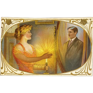 October 31 1911 Postmark Halloween Postcard Lady Gazing at Man in Mirror Embossed 31st Series 304 Cat Face Candle Occult