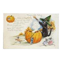 Whitney Made Halloween Postcard Black Cat in Witch Hat Mice Ghost JOLs Jackolanterns Jack O Lantern Pumpkins