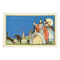 Whitney Made Halloween Postcard Black Cats Witch Witches Moon Moonlight