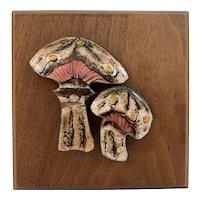 Mid Century Enamel on Copper Mushrooms on Wood Mixed Media Art Picture Artist Signed