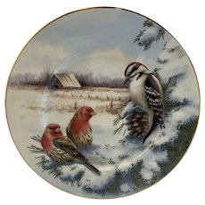 Lenox Winter Greetings Scenic Downy Woodpecker & House Finch Luncheon Plate Artist Signed Catherine McClung