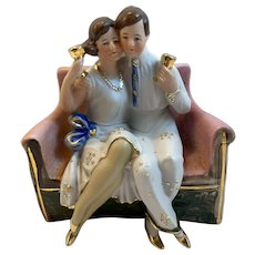 WKC Graefenthal Germany Bisque Romantic Courting Couple on Sofa Drinking Wine Embracing Couch