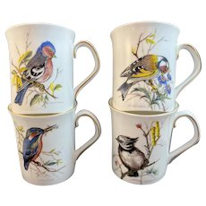 4 Rosina Bone China Bird Mugs Cups England Chaffinch Goldfinch Kingfisher Crested Tit
