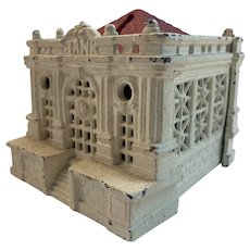 Cold Painted Cast Iron Penny Bank with a Red Roof
