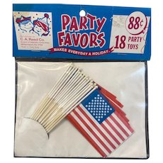 2 Packs NOS American Flag Party Toy Favors Vintage CA Reed Never Used Unopened Patriotic Memorial Day July 4th