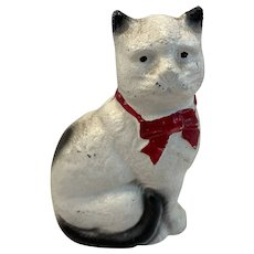 Cast Iron Cat Bank Kitty with Red Bow Still Penny John Wright Grey Iron Casting Co