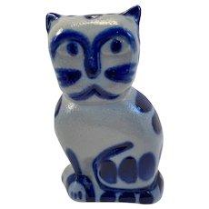 1990 Eldreth Pottery Kitty Cat Salt Glazed with Cobalt Decoration Pennsylvania Folk Art Hand Made