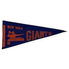 Vintage 1970s Felt New York Giants Football Pennant