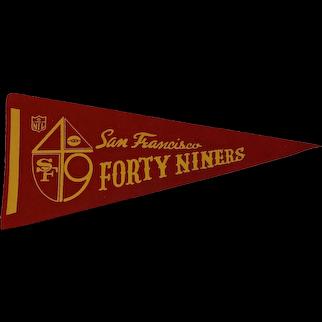 Vintage 1970s Felt San Francisco Forty Niners Football Pennant