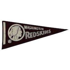 Vintage 1970s Felt Washington Redskins Football Pennant
