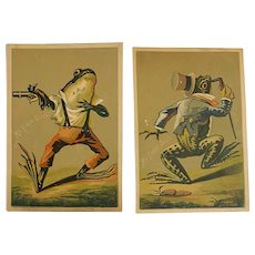 2 Victorian Dressed Frog Trade Cards My First Duel and Suit
