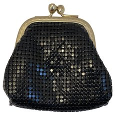 Black Mesh Coin Purse Vintage Metal with Gold Tone Frame Clasp