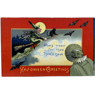German Halloween Witch Flying on Broom With Black Cat Full Moon and Embossed Germany Saxony Postcard