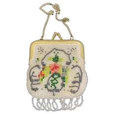 Small Beaded Fringed Purse with Gold Tone Clasp and Chain Reticule Coin Satin Fringe