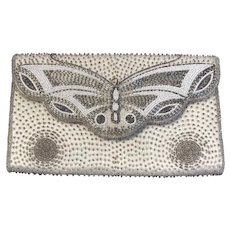 Vintage Butterfly Beaded Clutch Purse Made in Tokyo Japan Silver and White