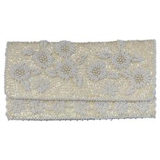 Vintage Sequin Beaded Clutch Purse Faux Pearls Floral Motif Off White