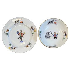 Vintage Hammersley Clown Motif Bone China Child Dishes Plate Bowl England Children