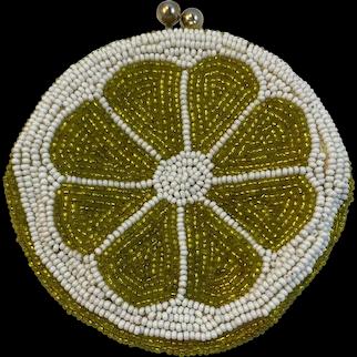 Vintage Beaded Lime Shape Coin Purse