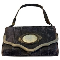 Small Victorian Leather Purse Trifold with Mirror