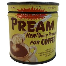 Vintage Pream Key Wind Tin Coffee Dairy Product Powdered Creamer Litho Graphics
