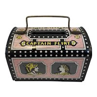 Captain Flint Tin Litho Pirate Treasure Chest Bank with Handle Made in Japan