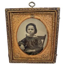 Ambrotype of Young Girl in Civil War Era Dress Photo Photograph Half Case