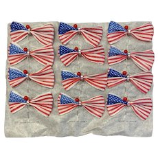 NOS Parade Hatpins American Flag Pins Made in Japan Sheet of 12 Never Used New Old Stock Patriotic Memorial Day 4th of July