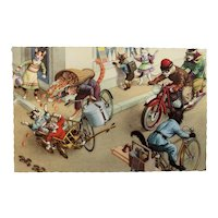 Dressed Cats in a Traffic Accident with Bicycle and Motorcycle Alfred Mainzer Postcard 4864