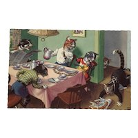 Dressed Cats at a Birthday Party with a Cake Accident Alfred Mainzer Postcard 4906