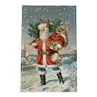 1906 P Sander Embossed Santa Postcard Mailed in 1907 Americana Patriotic American Flag