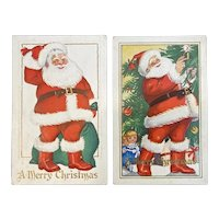 2 Santa Claus Embossed Merry Christmas Postcards Before and After Tree 46 48